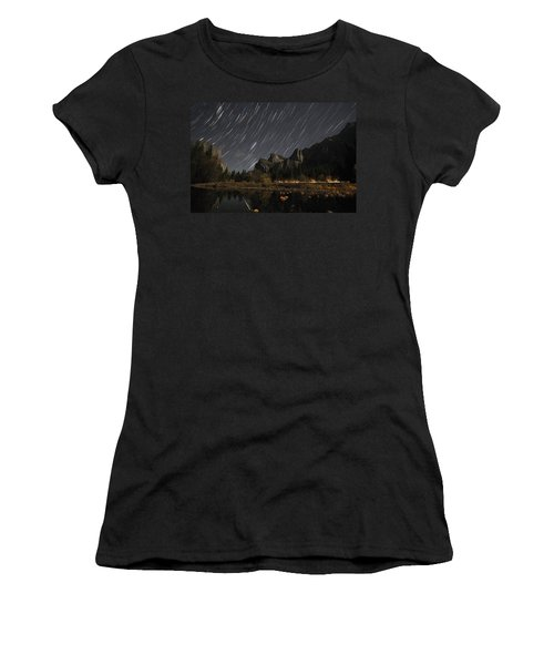 Star Trails Over Yosemite Women's T-Shirt (Athletic Fit)