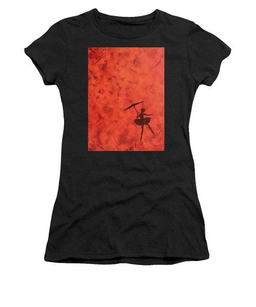 Stencil Ballerina Women's T-Shirt (Athletic Fit)