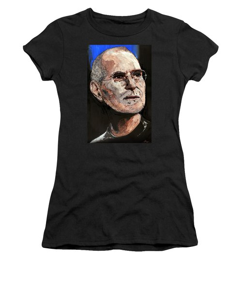 Women's T-Shirt (Junior Cut) featuring the painting Steven Paul Jobs by Gordon Dean II