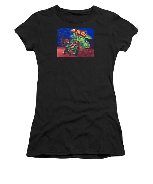 Still Life With Elephant Figure And Prrimulas Women's T-Shirt