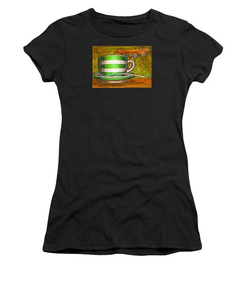Still Life With Green Stripes And Saddle  Women's T-Shirt (Athletic Fit)