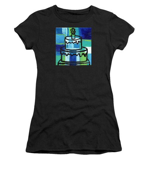 Stl250 Birthday Cake Blue And Green Small Abstract Women's T-Shirt (Junior Cut) by Genevieve Esson