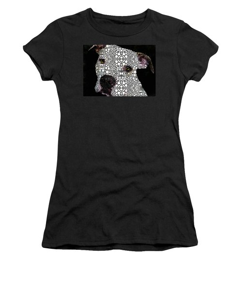 Women's T-Shirt (Athletic Fit) featuring the painting Stone Rock'd Dog By Sharon Cummings by Sharon Cummings