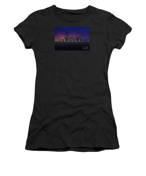 Women's T-Shirt (Junior Cut) featuring the photograph Stonehenge Looking Moody by Terri Waters