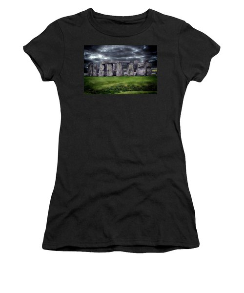 Storm Clouds Over Stonehenge Women's T-Shirt (Junior Cut) by Anthony Dezenzio