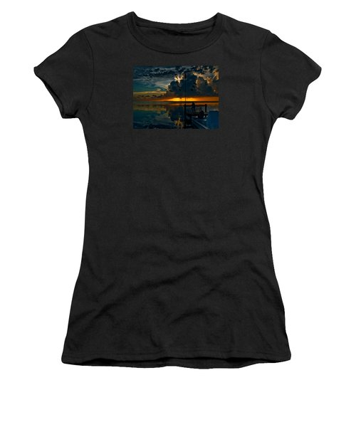Sunset Tropical Storm And Watcher In Florida Keys Women's T-Shirt (Athletic Fit)