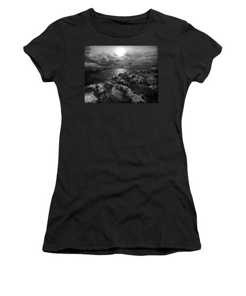 Blank And White Stormy Mediterranean Sunrise In Contrast With Black Rocks And Cliffs In Menorca  Women's T-Shirt (Junior Cut) by Pedro Cardona
