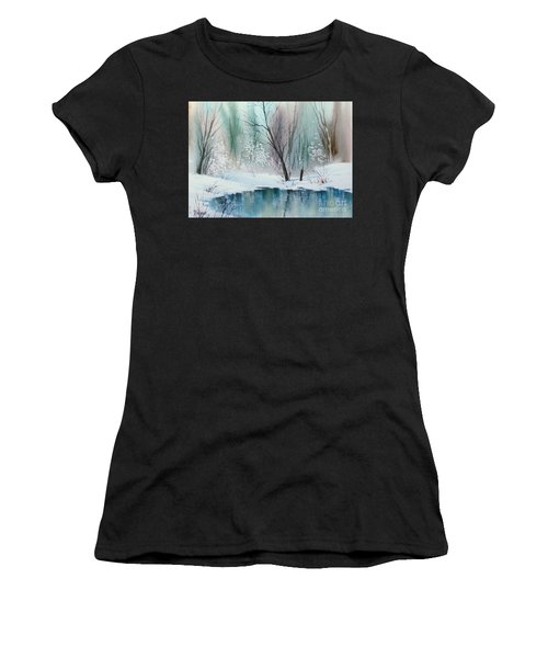 Stream Cove In Winter Women's T-Shirt (Athletic Fit)