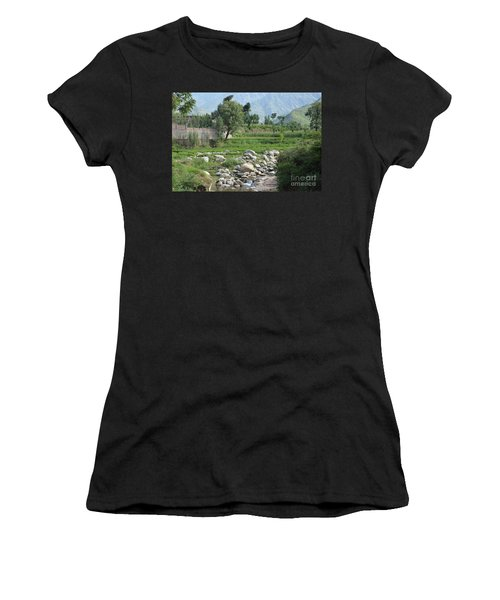 Stream Trees House And Mountains Swat Valley Pakistan Women's T-Shirt
