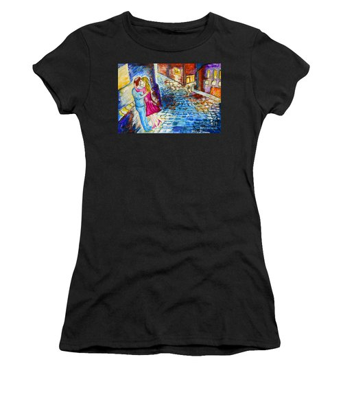 Street Kiss By Night  Women's T-Shirt (Athletic Fit)