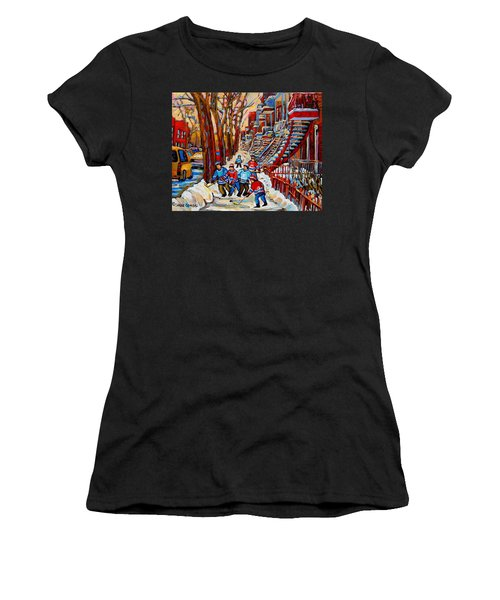 Streets Of Verdun Hockey Art Montreal Street Scene With Outdoor Winding Staircases Women's T-Shirt (Athletic Fit)