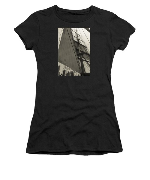 Suare And Triangle Black And White Sepia Women's T-Shirt (Athletic Fit)