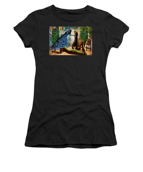 Women's T-Shirt (Junior Cut) featuring the painting Suck My Peacock by Ally  White
