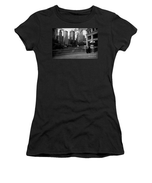 Summer On The Chicago River - Black And White Women's T-Shirt (Athletic Fit)