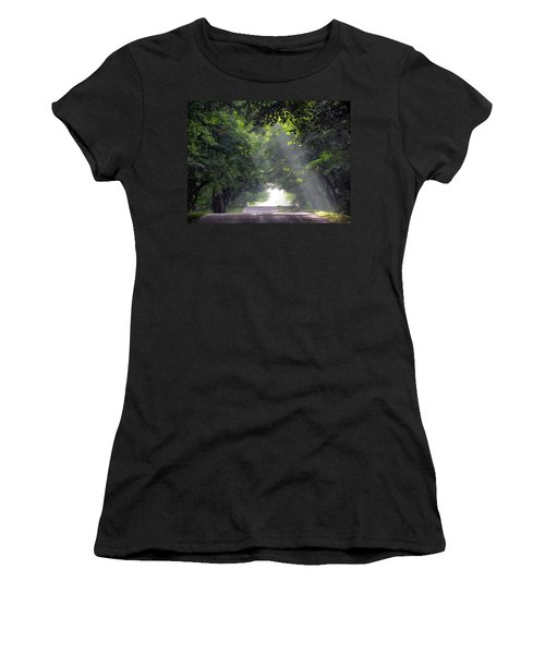 Sun Rays On Waters End Road Women's T-Shirt (Athletic Fit)