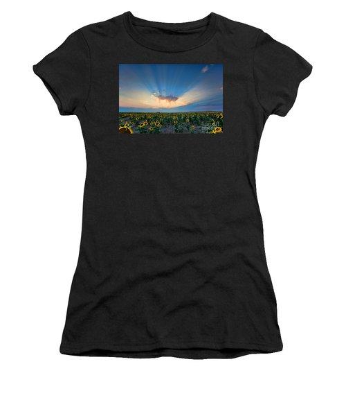 Sunflower Field At Sunset Women's T-Shirt