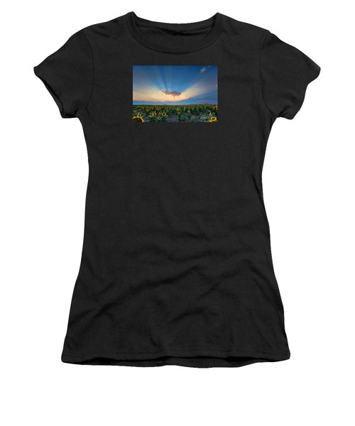 Sunflower Field At Sunset Women's T-Shirt (Athletic Fit)
