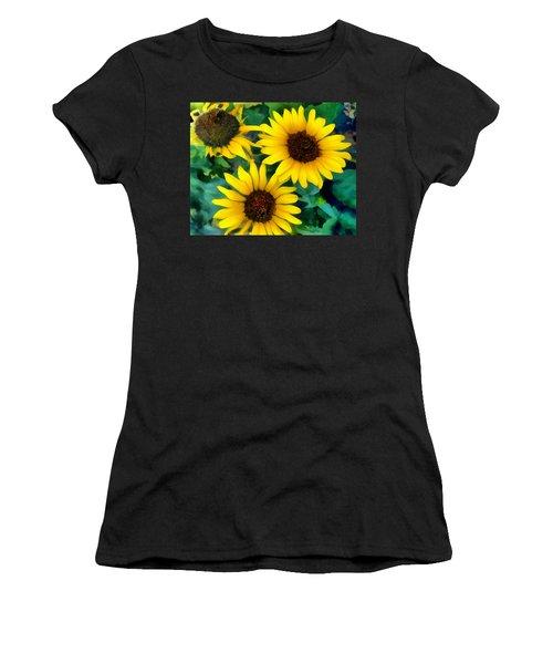 Sunflower Trio  Women's T-Shirt (Athletic Fit)