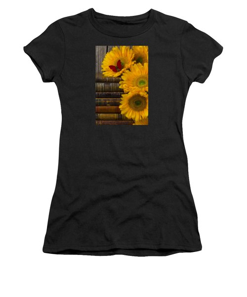 Sunflowers And Old Books Women's T-Shirt (Athletic Fit)