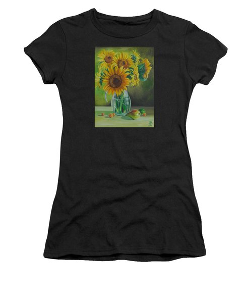 Sunflowers In Glass Jug Women's T-Shirt (Athletic Fit)