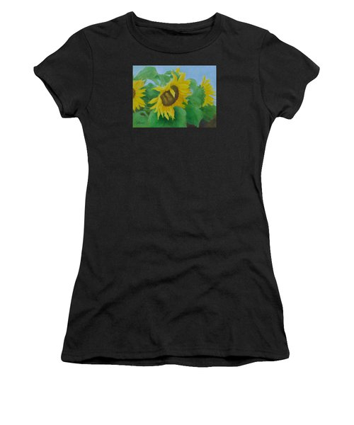 Sunflowers In The Wind Colorful Original Sunflower Art Oil Painting Artist K Joann Russell           Women's T-Shirt (Athletic Fit)