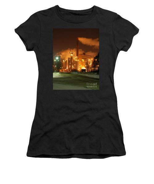 Sunila Pulp Mill By Winter Night Women's T-Shirt (Athletic Fit)