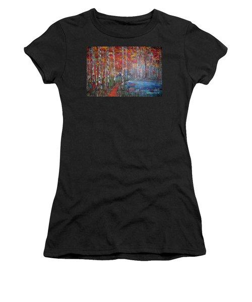 Sunlit Birch Pathway Women's T-Shirt