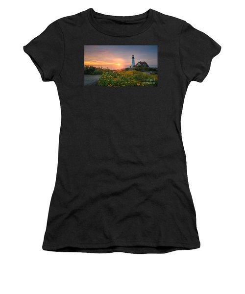Sunrise Bliss At Portland Lighthouse Women's T-Shirt