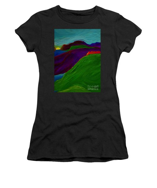Women's T-Shirt (Junior Cut) featuring the painting Sunrise Castle By Jrr by First Star Art