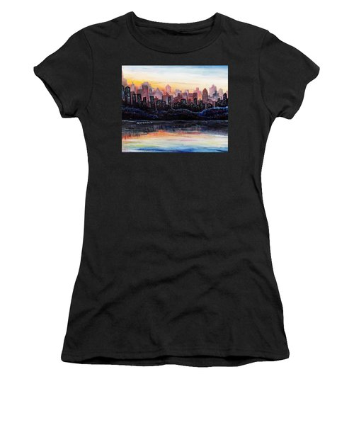 Women's T-Shirt (Junior Cut) featuring the painting Sunrise City by Shana Rowe Jackson
