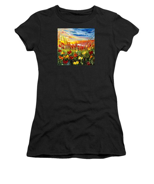 Sunrise Meadow   Women's T-Shirt (Junior Cut) by Teresa Wegrzyn