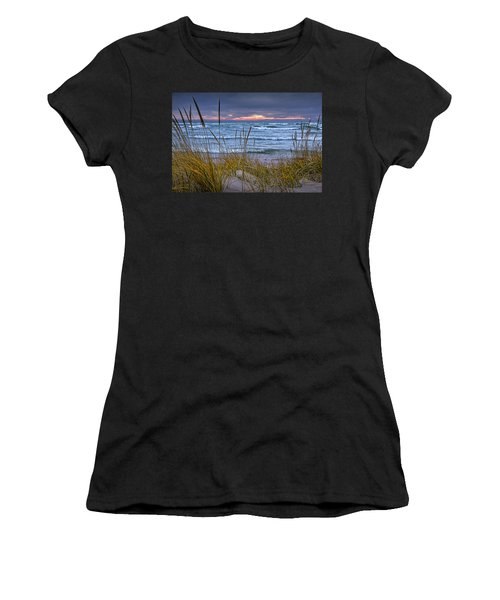Sunset On The Beach At Lake Michigan With Dune Grass Women's T-Shirt