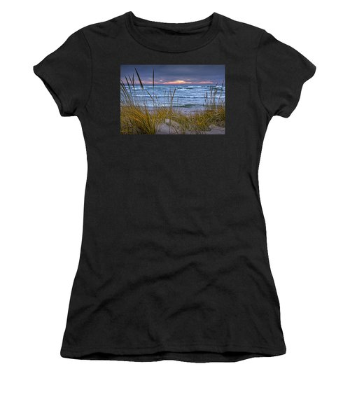 Sunset On The Beach At Lake Michigan With Dune Grass Women's T-Shirt