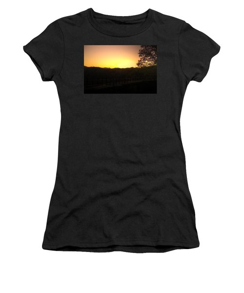 Women's T-Shirt (Junior Cut) featuring the photograph Sunset Behind Hills by Jonny D