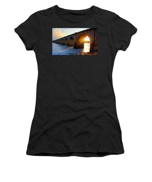 Sunset Bridge Women's T-Shirt (Athletic Fit)