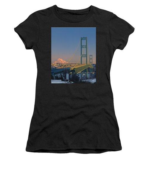 1a4y20-v-sunset On Rainier With The Tacoma Narrows Bridge Women's T-Shirt