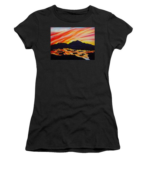 Women's T-Shirt (Junior Cut) featuring the painting Sunset On Rice Fields by Michele Myers