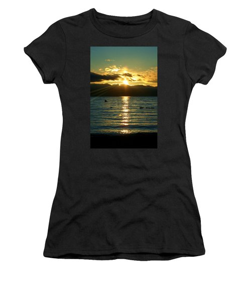 Sunset Over Lake Tahoe Women's T-Shirt (Junior Cut) by Ellen Heaverlo