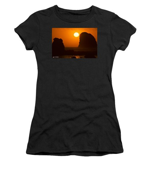Sunset Over The Pacific Ocean With Rock Stacks Women's T-Shirt (Junior Cut) by Jeff Goulden