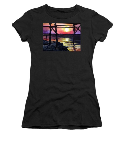 Women's T-Shirt (Junior Cut) featuring the painting Sunset Pier by Lil Taylor