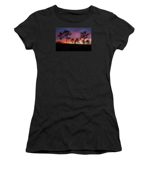Women's T-Shirt (Junior Cut) featuring the photograph Sunset Pines by Paul Rebmann