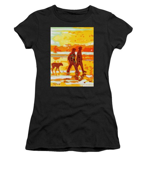 Sunset Silhouette Carmel Beach With Dog Women's T-Shirt (Athletic Fit)