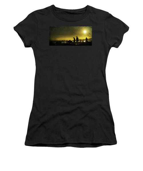 Women's T-Shirt (Junior Cut) featuring the photograph Sunset Silhouette Of People At The Beach by Peter v Quenter