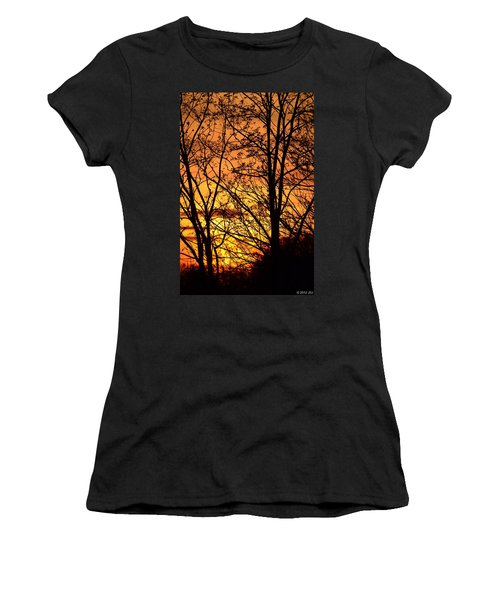 Women's T-Shirt (Junior Cut) featuring the photograph Sunset Silhouettes Behind The George Washington Masonic Memorial by Jeff at JSJ Photography