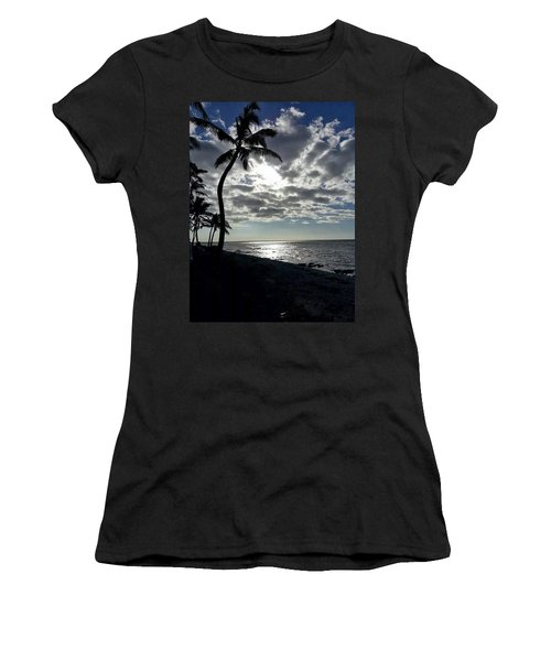 Sunset With Palm Trees Women's T-Shirt (Junior Cut) by Pamela Walton
