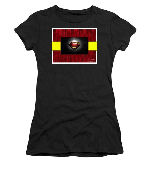 Women's T-Shirt (Junior Cut) featuring the mixed media Superman by Marvin Blaine
