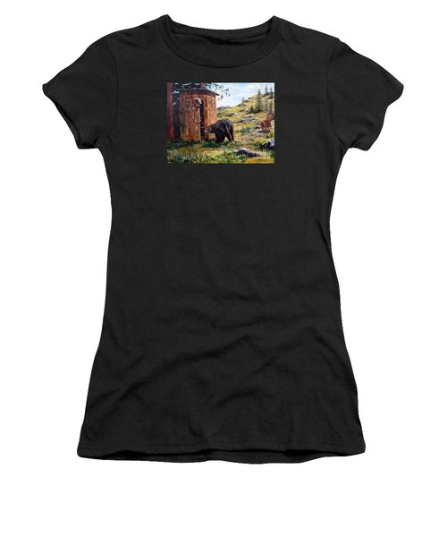 Women's T-Shirt (Junior Cut) featuring the painting Surprise Visit by Lee Piper