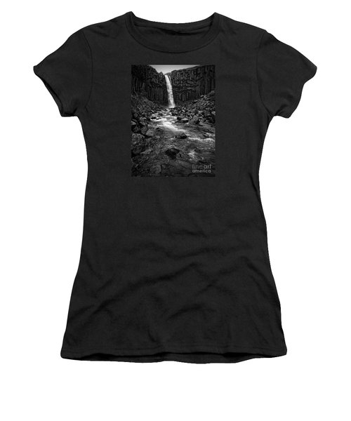 Svartifoss Waterfall In Black And White Women's T-Shirt (Junior Cut)