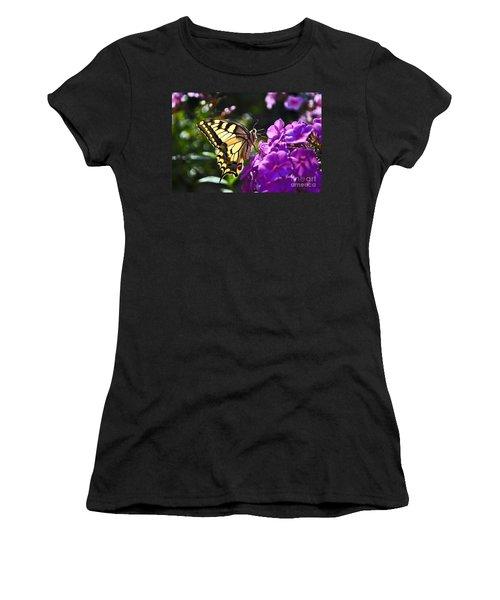 Women's T-Shirt (Junior Cut) featuring the photograph Swallowtail On A Flower by Maja Sokolowska