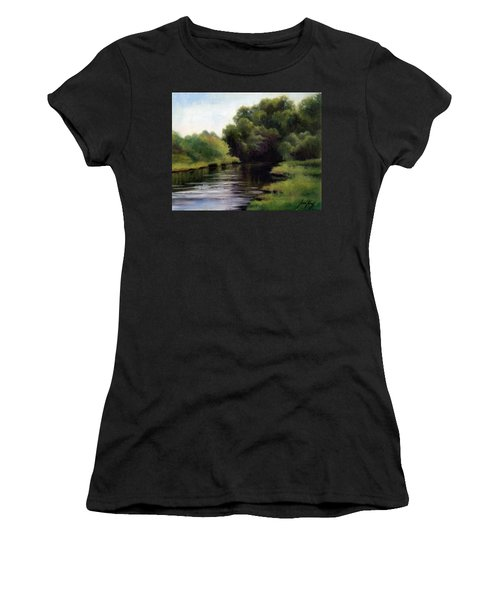Women's T-Shirt (Junior Cut) featuring the painting Swan Creek by Janet King